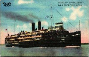 Vintage Lin Carte Postale Bateau Vapeur Vaisseau City Of Cleveland III - D & C