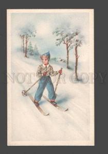 086191 SKIING girl on ski Vintage Amag colorful PC