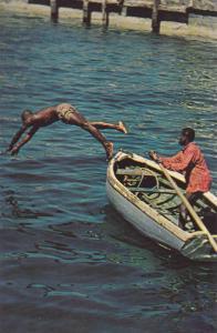 Native Boy dives for a coin , Nassau , Bahamas , 40-60s