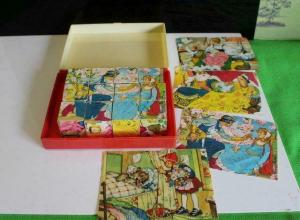 PICTURE CUBE PUZZLE IN BOX VINTAGE 1960'S WOODEN