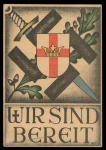Germany 1942 Knights Templar Shield with Crown Propaganda Card Feldpost US 90981