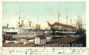 Warships & Old Ironsides, Charlestown Navy Yard Military Battleship Postcard ...