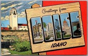 c1940s BOISE Idaho Large Letter Postcard Union Depot View Linen *Back Damage
