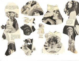 Paper Dolls / accessories cut from magazine – Drayton ?
