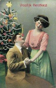 Merry Christmas Romantic Couple with Christmas Tree 04.76