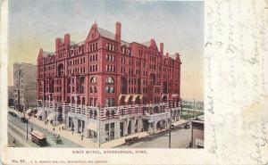 Minneapolis Minnesota~West Hotel~Trolley~Whole Street~1906 VO Hammon PC