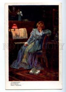 175983 ILLUMINATED Lady reading Book PIANO by SZCZAWINSKI old