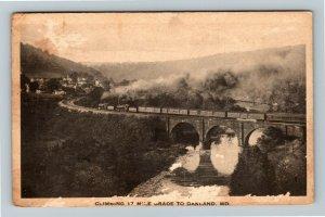 Oakland MD-Maryland, Locomotive Climbing 17 Mile Grade, Vintage c1926 Postcard