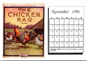 1990 Sheet Music Calendar Series November The Chicken Rag Song