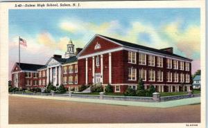 SALEM, New Jersey  NJ   SALEM HIGH SCHOOL  c1940s  Linen  Postcard
