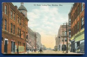 Meridian Mississippi ms 5th Street looking East old postcard