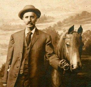 Vtg Azo Cppr - 1904-18 Nommé Objet Morris Kennedy Portrait De Homme & Faux