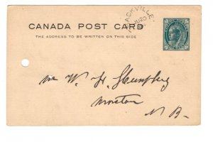 Victoria Jubilee Postal Stationery Postcard, Used Sackville, New Brunswick