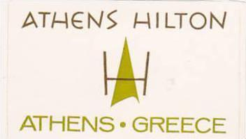 GREECE ATHENS HILTON HOTEL VINTAGE LUGGAGE LABEL