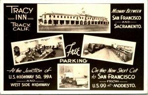 Vtg  RPPC 1930s Tracy California CA Tracy Inn Multi View Hwy 50 Interiors UNP