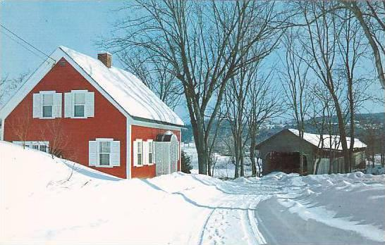 Covered Bridge Clad In Winters Soft White Mantle Vermont