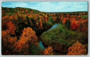 Postcard Aerial View of Autumn on the Muskegon River near Croton Dam Michigan