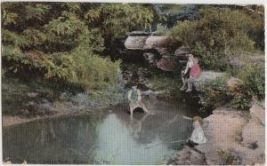 1909 KANSAS CITY Missouri MO Postcard SWOPE PARK CLiffs Swimming Kids