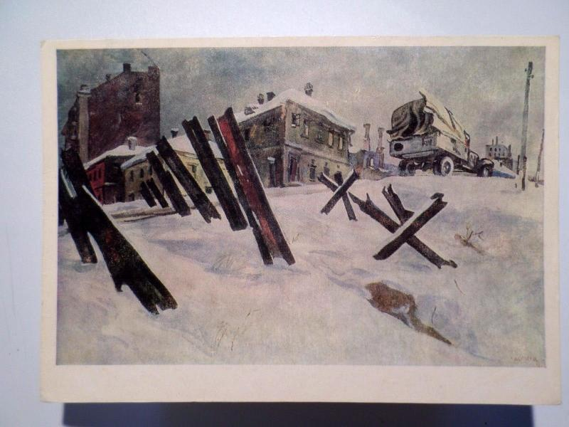 ART POSTCARD WWII WW II RUSSIA RUSSIE WINTER & CARS CAR CAMION CAMIONS  z1