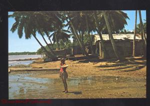 SANCHEZ R.D. DOMINICAN REPUBLIC PLAYA DE SANCHEZ PRETTY GIRL VINTAGE POSTCARD