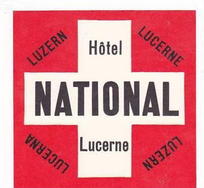 LUCERNE SWITZERLAND HOTEL NATIONAL OLD LUGGAGE LABEL