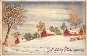 Happy New Year Gelukkig Nieuwjaar, winter, houses, haus, village 1950