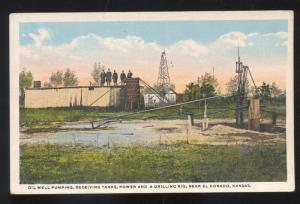 EL DORADO KANSAS OIL WELL PUMPING TANKS VINTAGE POSTCARD ELDORADO KANS.