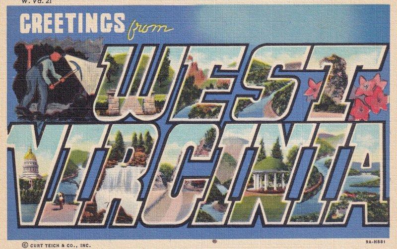 LARGE LETTER, WEST VIRGINIA, 1930-1940's