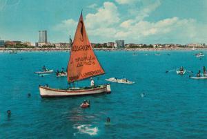 Italian Sailing Ship Riviera Di Rimini Advertising Aquarium 2x Postcard