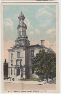 c1910 GREENVILLE Ohio Postcard DARKE COUNTY COURT HOUSE People