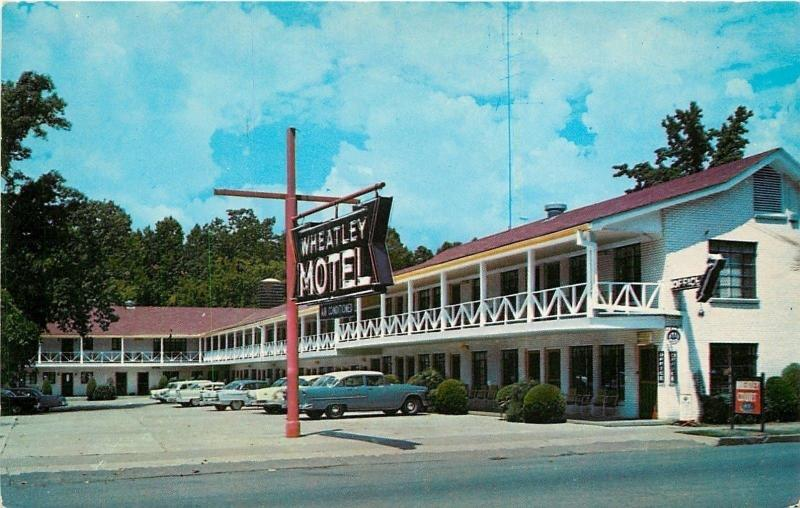 Hot Springs Arkansas~White Railing on 2nd Floor~Wheatley Motel~1959 Postcard