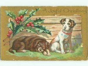 Pre-Linen Christmas PAIR OF NICE DOGS BY DEFENSE AB5309