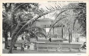 Tarpon Springs Florida~City Park Band Stand~Men Through the Palms~1920s B&W PC