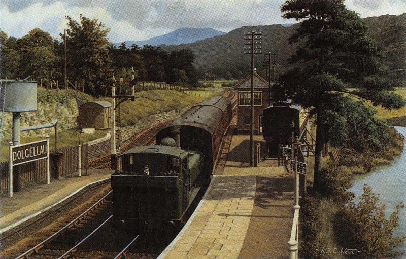 Miniature Art Postcard GWR 74XX 7425 DOLGELLAU Train Railway Station