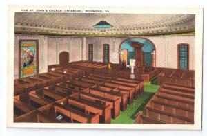 Richmond VA St. Johns Church Interior Tichnor Postcard
