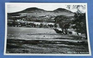 Vintage Real Photo  Postcard  Eildon Hills And Gattonside Scotland D1A