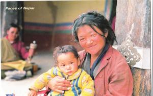 Faces of Nepal, mother with child, 2002 used Postcard
