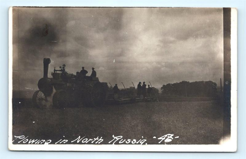 Postcard Russian USSR Plowing in North Russia Farming RPPC Real Photo  K11