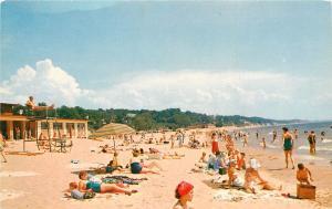 Michigan Beach Scene 1960's family summer fun swimsuits Postcard