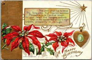 1909 DECEMBER Birthday Birthstone / Flower Postcard TURQUOISE / Poinsettia