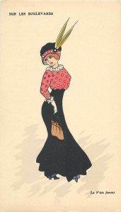 Early parisian fashion vintage pictorial card artist signed  La petite femme