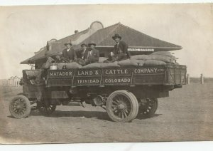 RP: ROARING SPRINGS , Colorado , 00-10s ; Matador Land & Cattle Truck at depot