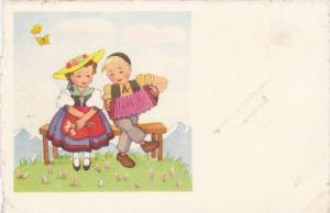 Swiss Couple, Blond Boy Plays Accordion for Brunette Girl in Yellow Hat