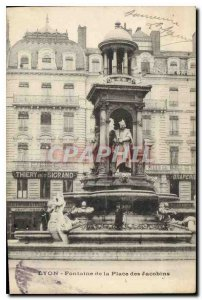 Old Postcard Lyon Fountain Place des Jacobins