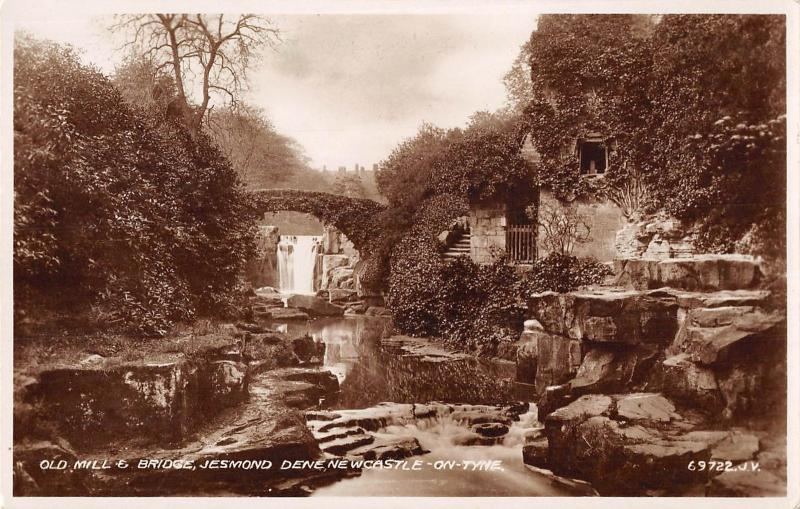 uk12993 old mill and bridge  jesmond dene newcastle on tyne real photo   uk