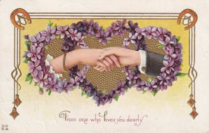 VALENTINES DAY, PU-1914; Couple hands, Horseshoes, Forget-Me-Nots