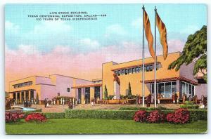 Postcard TX Dallas Live Stock Building Centennial Exposition Vintage Linen R54