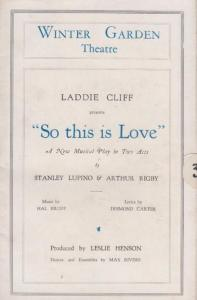 So This Is Love Arthur Rigby Laddie Cliff Comedy London Theatre Programme