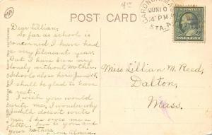 Gardiner MA Windsor House on the Corner~Homes on Either Side c1910 Postcard