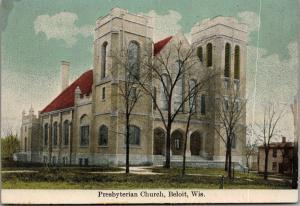 Beloit Wisconsin~Presbyterian Church~House Down Street~c1910 Postcard